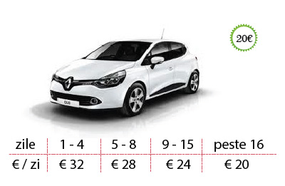 Inchirieri masini Renault Clio preturi de la 20 €/zi