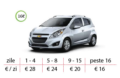 Inchirieri auto Chevrolet Spark de la 16 €/zi