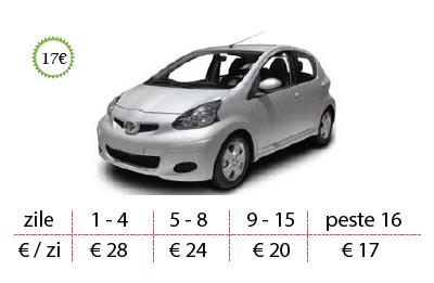 Inchirieri auto Toyo Aygo de la 17 €/zi