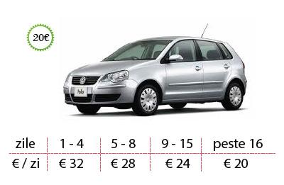 Inchirieri auto Vw Polo de la 20 €/zi